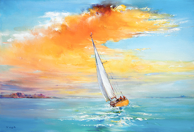 50x73cm Sailing Free  (sold)